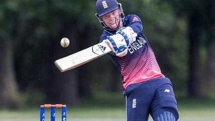 Fin Trenouth of England bats during the ICC U19 Cricket World Cup Warm Up match between Ireland and England at Hagley Park