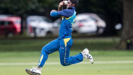 Jehan Daniel of Sri Lanka bowls during the ICC U19 Cricket World Cup Warm Up match between Sri Lanka and Australia at Hagley Park