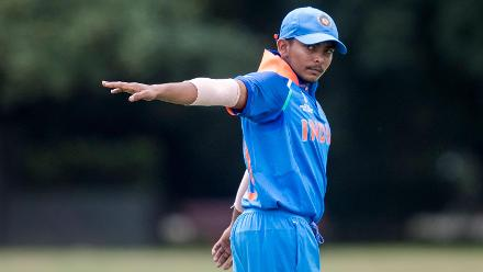 India captain Prithvi Shaw directs his field in the warm-up match against South Africa at Christ's College in Christchurch