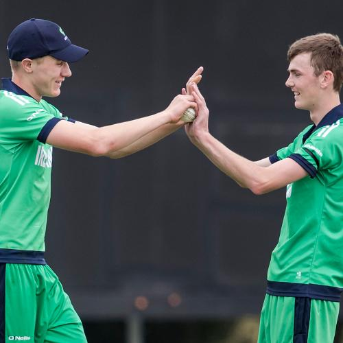 Ireland's Harry Tector and Graham Kennedy celebrate a dismissal against England in Hagley Park.
