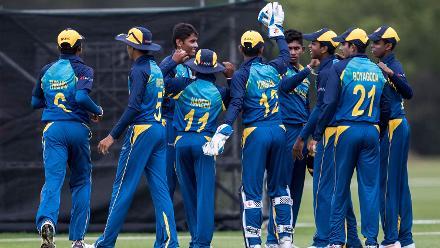 Sri Lanka celebrates the dismissal of Australia's Max Bryant during their warm-up clash at Hagley Park.