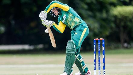 Hermann Rolfes of South Africa bats against India at Christ's College in Christchurch.