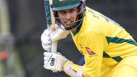 Captain Jason Sangha of Australia bats during the ICC U19 Cricket World Cup Warm Up match between Sri Lanka and Australia at Hagley Park.