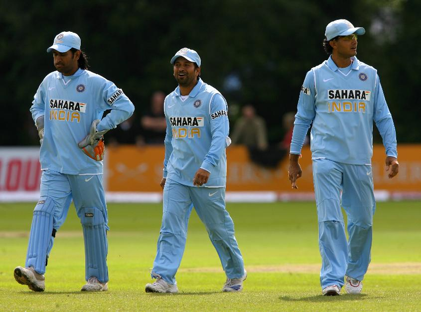 Sourav Ganguly, Sachin Tendulkar and MS Dhoni play at Malahide in 2007