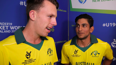 Jason Sangha and his Australia U19 team-mates ham it up on the U19CWC media day