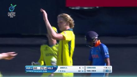 U19CWC POTD - classy caught and bowled by Jack Edwards