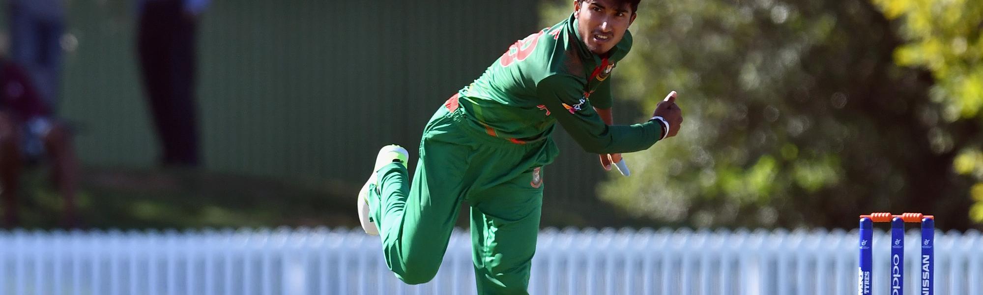Afif Hossain Dhrubo of Bangladesh bowls