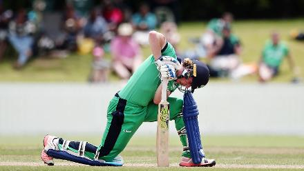 Jamie Grassi of Ireland reacts after being dismissed by Jehan Daniel