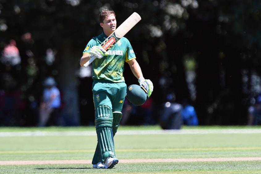 Raynard van Tonder of South Africa celebrates his century