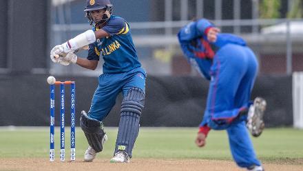 Ashen Bandara of Sri Lanka hits a drive