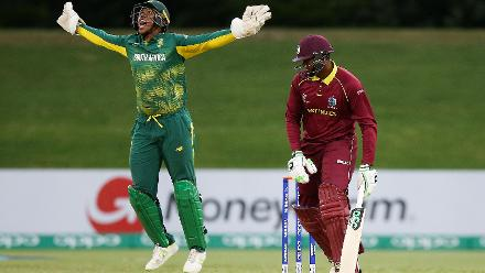 Wandile Makwetu of South Africa celebrates the wicket of Bhaskar Yadram