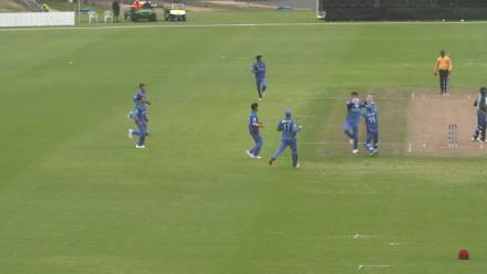 Afghanistans's Ibrahim Zadran follows up his 86 against Sri Lanka with this great catch at slip