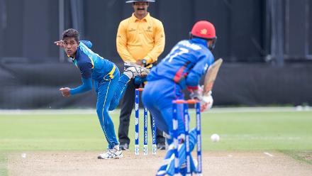 Thisaru Rashmika of Sri Lanka bowls to Ibrahim Zadran