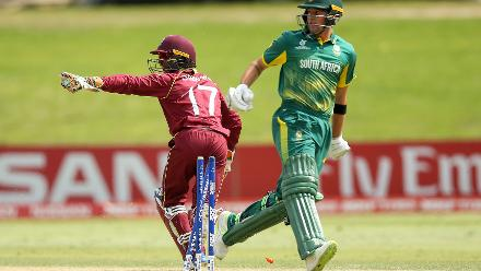 Captain Emmanuel Stewart of the West Indies celebrates after taking the wicket of Jason Niemand