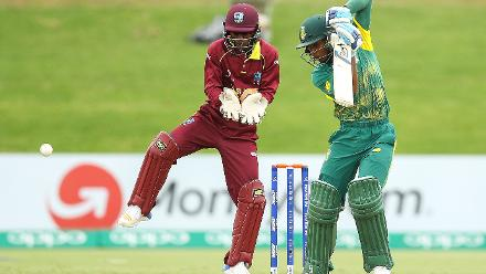 Kenan Smith of South Africa bats while wicketkeeper Emmanuel Stewart of the West Indies looks on