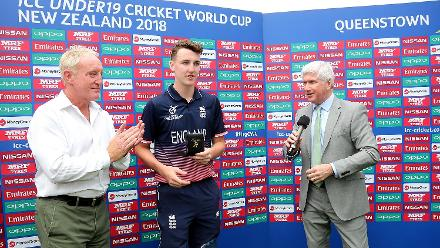 Harry Brook of England is presented player of the match