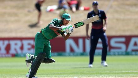 fif Hossain Dhrubo of Bangladesh hits one through the Leg Side