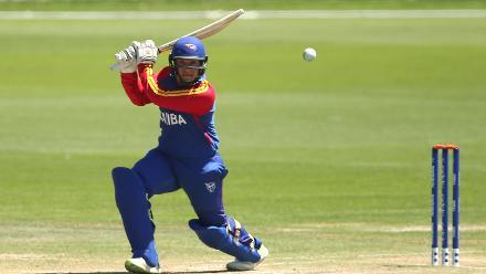 Nicol Loftie-Eaton of Namibia hits one through the covers