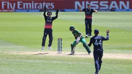 England players celebrate the dismissal of Afif Hossain Dhrubo