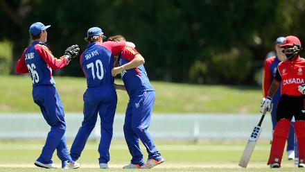 Namibia celebrate taking a wicket