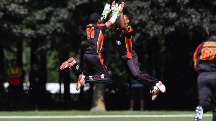 Sema Kamea takes PNG's first wicket of the tournament and has a celebration to match!