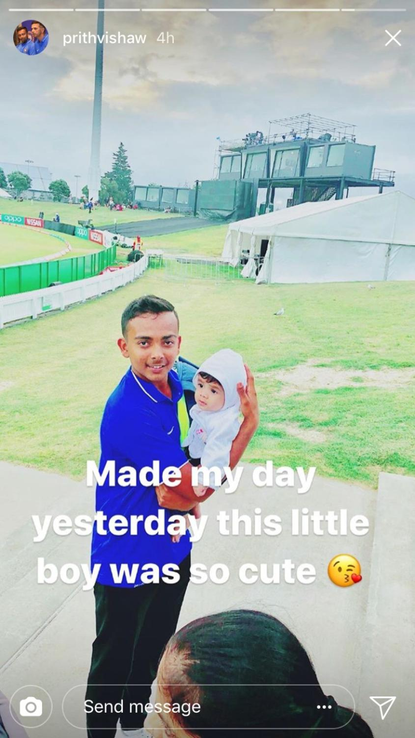 Prithvi Shaw's Instagram story showed his delight