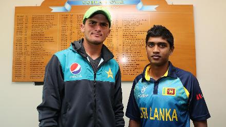 Shaheen Shah Afridi of Pakistan (L) and Dhananjaya Lakshan of Sri Lanka (R) with their names on the Cobham Oval honours board