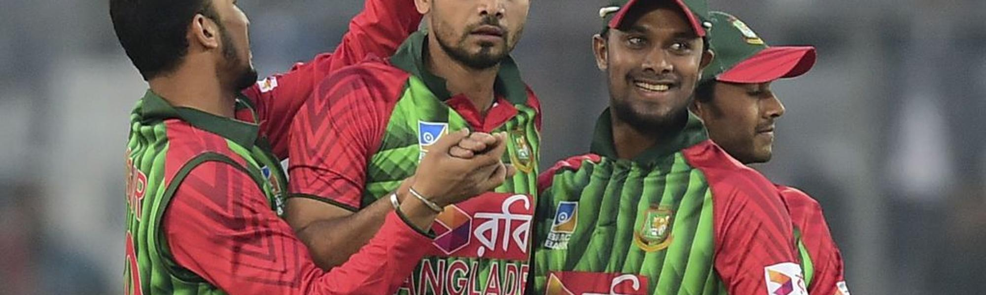 Captain Mashrafe Mortaza celebrates after the dismissal of Kusal Mendis