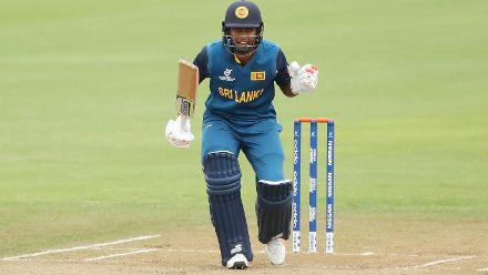 Dhananjaya Lakushan of Sri Lanka batting