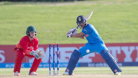 Harvik Desai of India batting