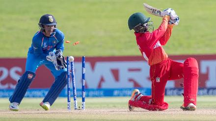 Nkosilathi Nungu of Zimbabwe is bowled out by Anukul Roy