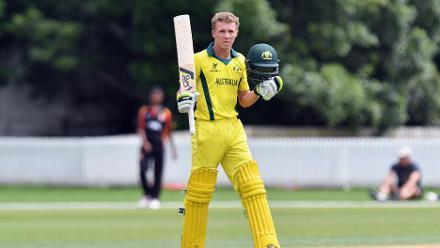 Nathan McSweeney of Australia celebrates his century