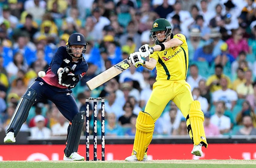 Steve Smith during his 45 against England. He was given out to a low catch by Buttler