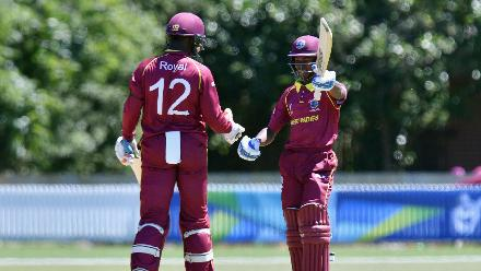 Alick Athanaze of the West Indies celebrates his half century during
