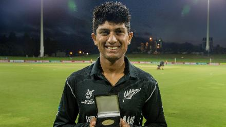 Player of the match Rachin Ravindra of New Zealand