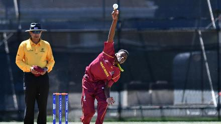 Jarion Hoyte of the West Indies bowling