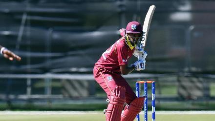 Keagan Simmons of the West Indies batting