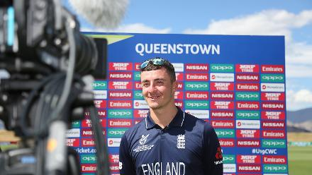Liam Banks of England is interviewed by media