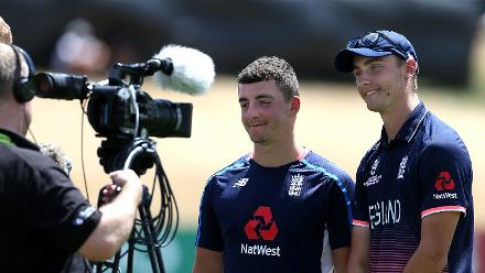 Liam Banks (L) and Will Jacks speak to media in the break after both reaching a century