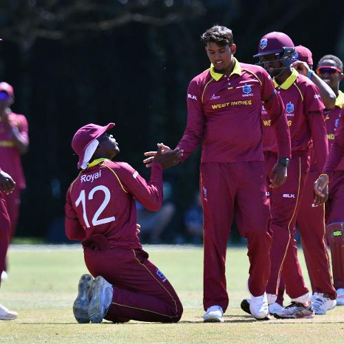 West Indies celebrate taking a wicket