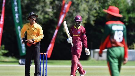 Kimani Melius of the West Indies celebrates his half century
