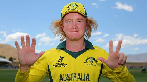 Lloyd Pope of Australia after his 8 wicket haul