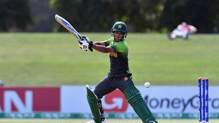 Ali Zaryab of Pakistan plays a cut shot