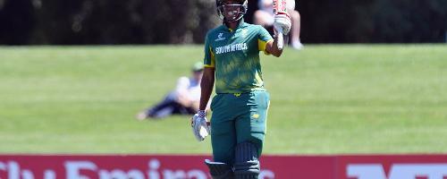 Wandile Makwetu of South Africa celebrates his half century