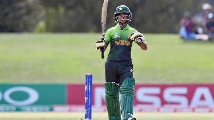 Ali Zaryab of Pakistan celebrates his half century