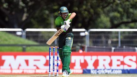 Rohail Nazir of Pakistan plays a block off the back foot
