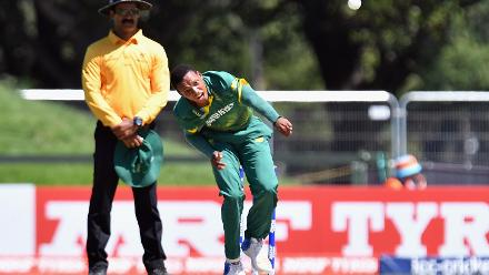 Akhona Mnyaka of South Africa bowls