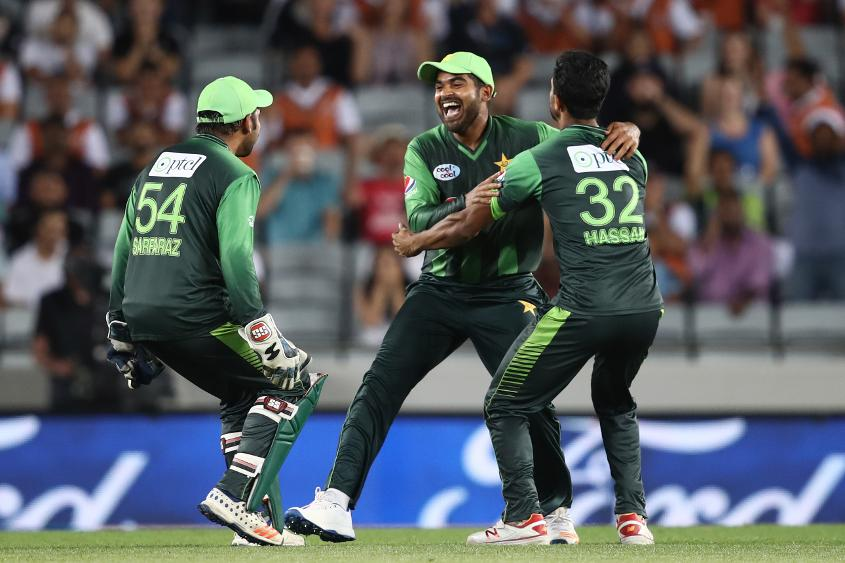 Haris Sohail celebrates the run out of Tom Bruce