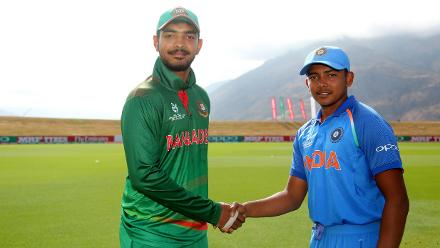 Mohammed Saif Hassan of Bangladesh and Prithvi Shaw of India