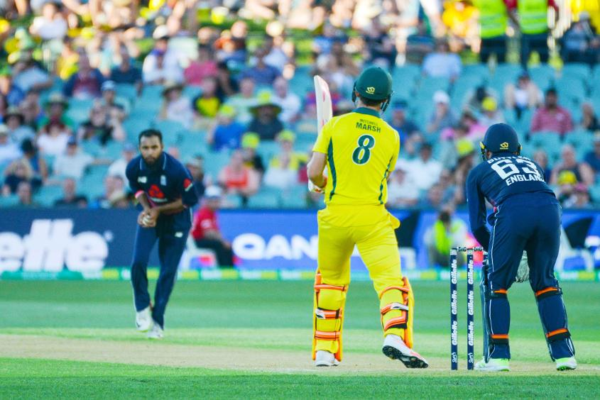 Mitchell Marsh was caught and bowled by Adil Rashid, who took 3/49